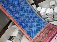 Banarasi Saree Blue With Pink