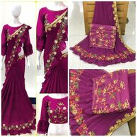 surat Georgette Fancy Heavy Work Saree