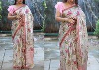 surat Checkmate Designer Linen Silk Saree