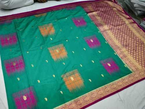 Banarasi Saree Sea Green With Pink Combination
