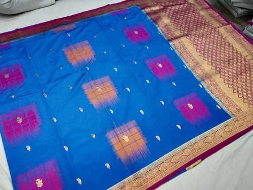 Banarasi Saree Sky Blue With Pink Combination