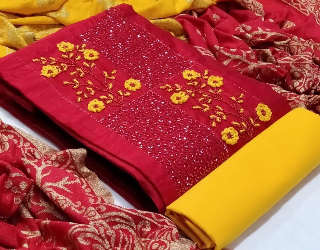 Heavy hand work cotton dress
