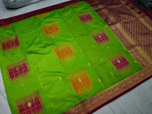 Banarasi Saree Green With Pink Combination