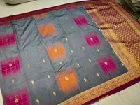 banarasi saree grey with violet combination