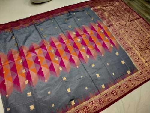 banarasi saree grey with pink