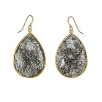 Black Rutile Gemstone Pear Drop Earring