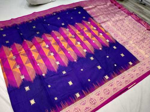 Banarasi Tie and Die Saree Blue With Pink Combination