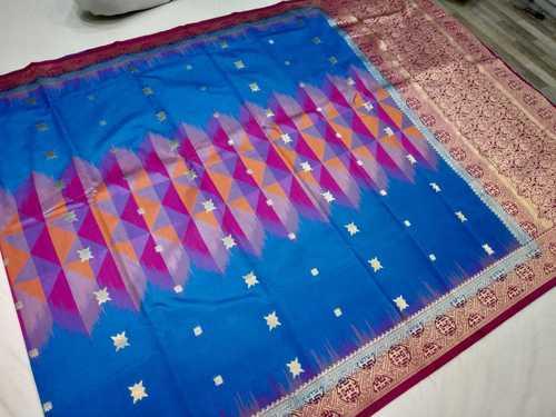 Banarasi Tie and Die Saree Sky Blue With Pink