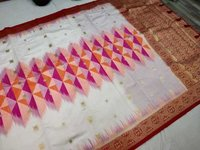 Banarasi Tie and Die Saree White With Pink