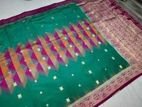 Banarasi Tie and Die Saree Sea Green With Pink