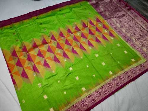 Banarasi Tie and Die Saree Green With Pink