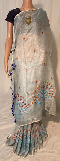 PURE LINEN BY LINEN 120 COUNT MACHINE EMBROIDERY SAREE.
