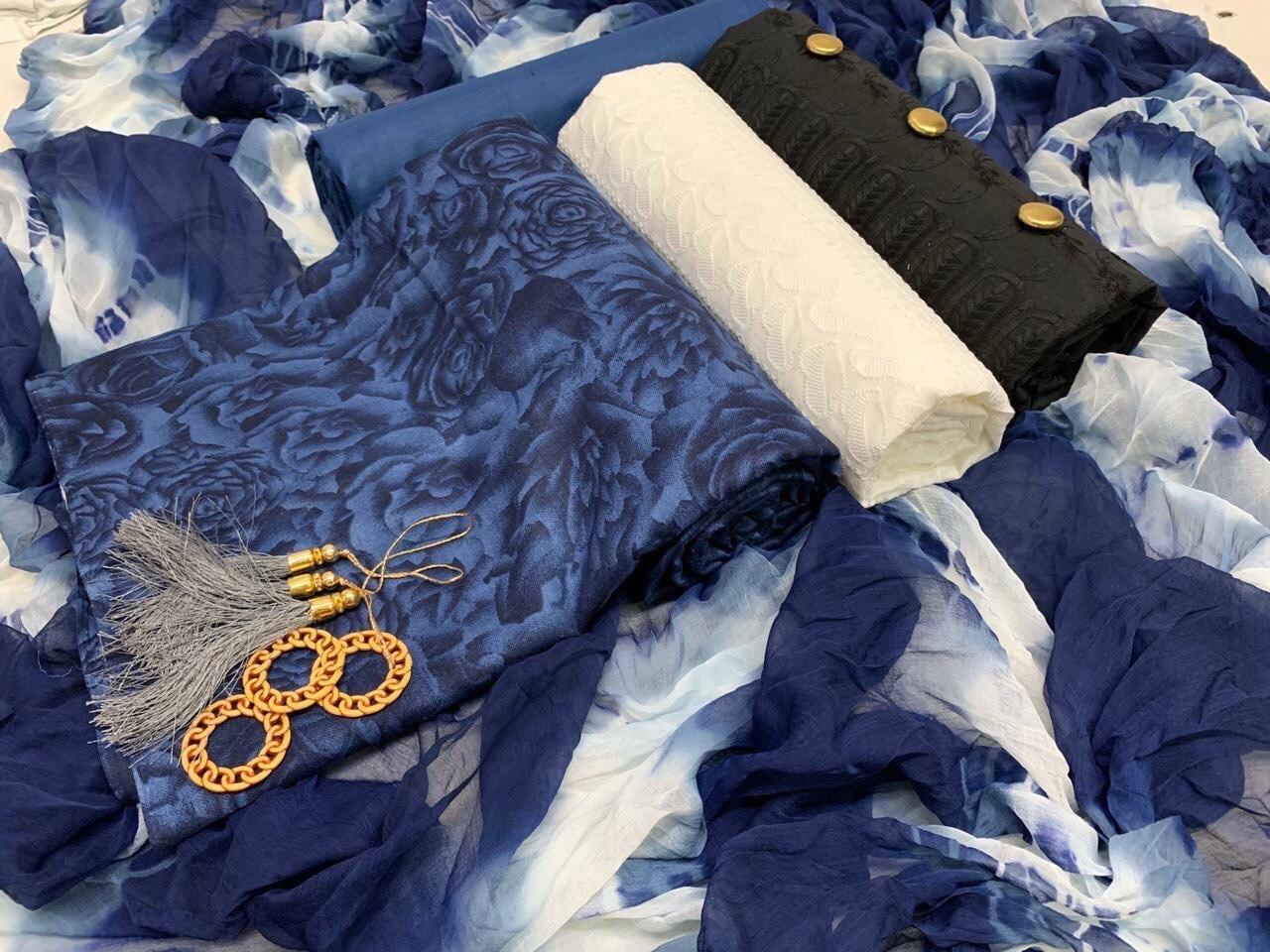 Chikan cotton dress