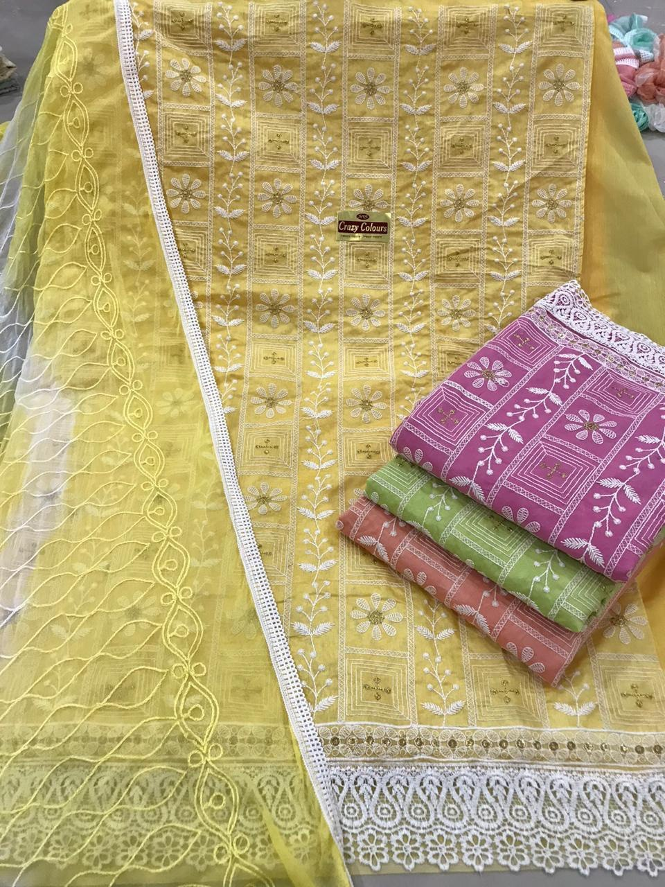 Chanderi silk dress material