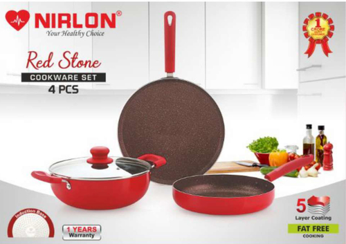 Nirlon Red Stone Cookware Gift Set