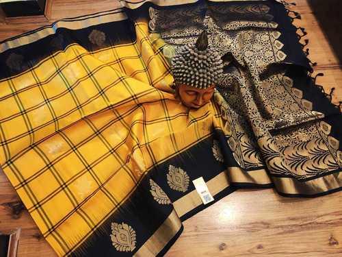 Pure Silk Checked Aravatta Butta Yellow With Black