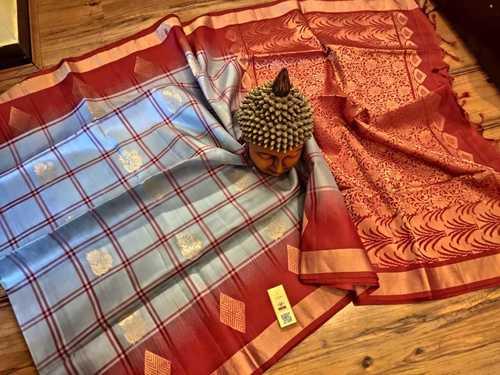 Pure Silk Checked Saree With Aravatta Butta Grey With Red Combination
