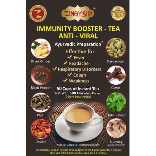 500 gm Zingysip Anti Viral Tea Added With Burnt Sugar As Immunity Booster With Vitamins