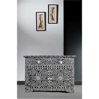 Black Bone Inlay One Drawer Two Door Chest of Drawer