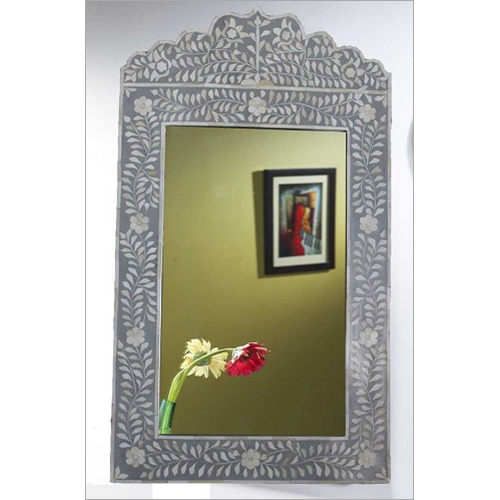 Grey Dark Bone Inlaid Mirror Frame