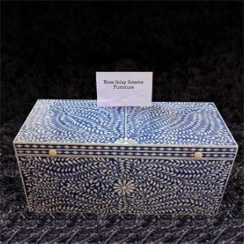 Blue Bone Inlaid Trunk-Storage Box