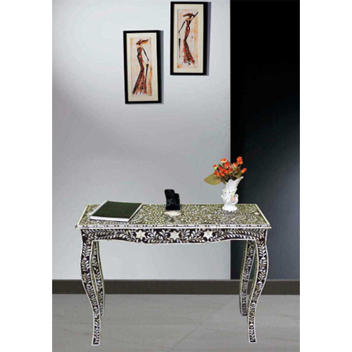 French Style Black Mother of Pearl Inlay Console Table Folding