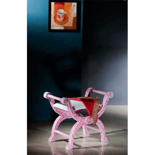 Pink Mother of Pearl Inlay Roman Stool