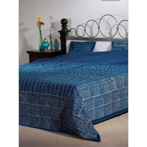 Kantha Work Cotton Block Print Bed Cover or Quilt Both Uses With 2 Cushions-Inside Cotton-Poly fiber Sheet