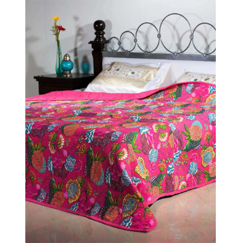 Pink Shade Cotton Printed Quilts-Inside Cotton-Poly fiber Sheet