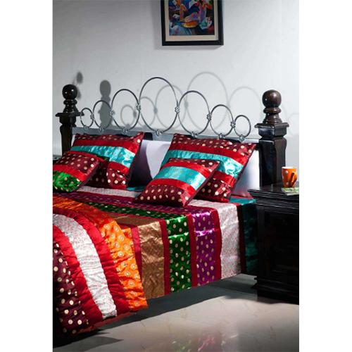 1 Dupioni Silk Bedspread 2 Pillow 2 Cushion 1 Quilt - 6 Pcs. Set
