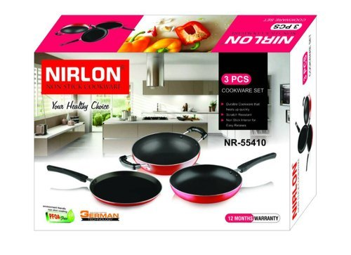 Nirlon Non Stick Cookware Gift Set for Home Kitchen Cooking Utensils Model NR 55410 2.8 mm Thickness