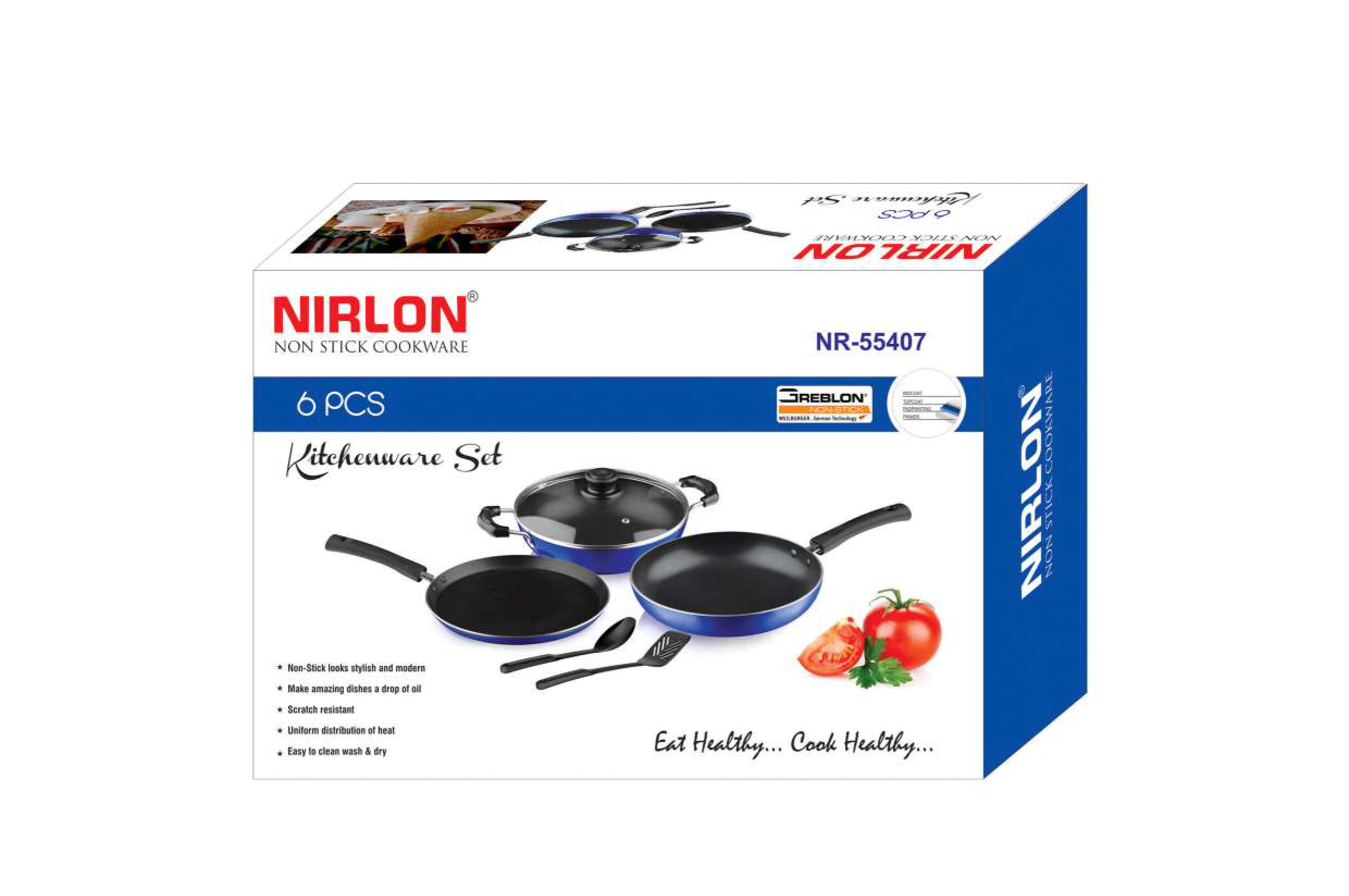 Nirlon Non Stick Coated Aluminium Kitchenware Gift Set of 6 Pieces, Cooking Pan and Pot Utensils