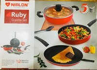 NIRLON Ruby Granite Cookware Gift Set