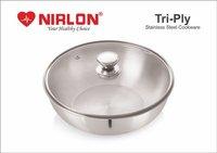 Nirlon Triply Stainless Steel Tasla, Kadhai, 2.5 Litre, Silver (24 Cm) (Induction Compatible)
