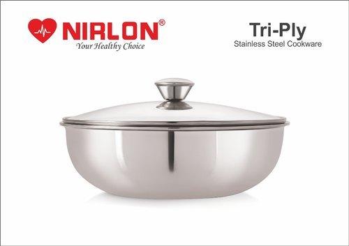 Nirlon Stainless Steel Tri-Ply Deep-Fry Pan Tasla, Deep Kadai with lid , Deep Tasla Triply cookware