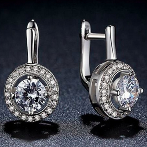 Round Cut Simulated Diamond Hoop Halo Earring 925 Sterling Silver Ring