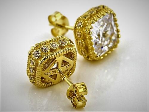 Princess Cut Gorgeous Simulated Diamond Push Back Stud Earrings 925 Sterling Silver Earring