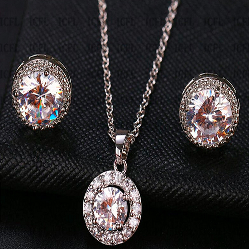 Oval Cut Simulated Diamond 925 Sterling Silver Anniversary Silver Pendant Jewelry Set