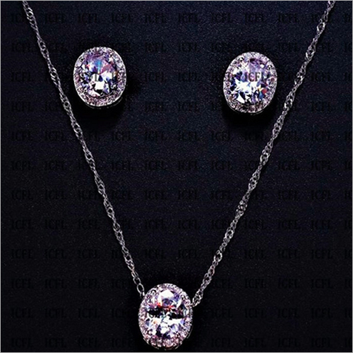 Oval Cut Simulated Diamond Sterling Silver Pendant & Earring Jewelry Set
