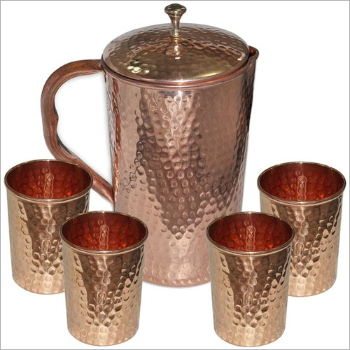 Copper Jugs And Glass Set