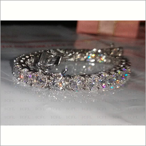 5mm Round Cut Simulated Diamond Solitaire 925 Sterling Silver Bracelet