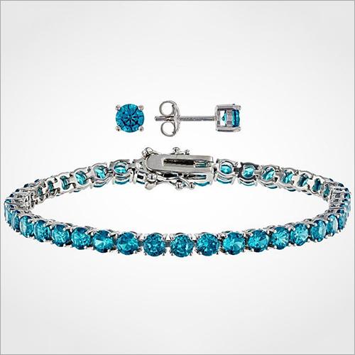 5mm Lab created Aquamarine Tennis Bracelet 925 Sterling Silver Bracelet