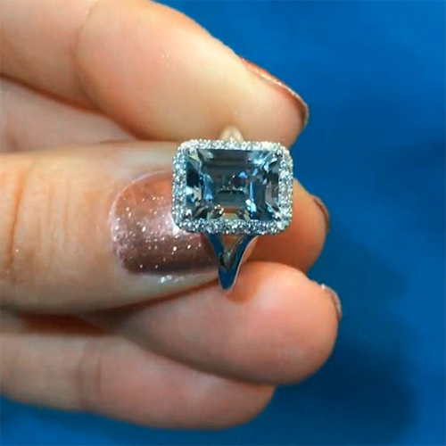 Emerald Cut Aquamarine Halo Engagement Ring 925 Sterling Silver Ring