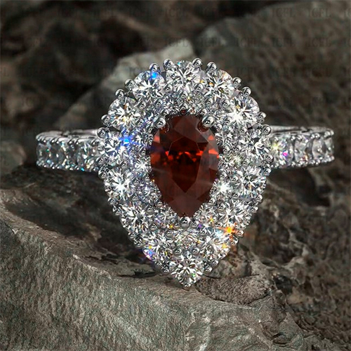 9x7mm Pear Cut Garnet 925 Sterling Silver Double Halo Engagement Ring