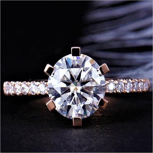 8mm Round Cut Simulated Diamond Anniversary & Wedding Silver Ring
