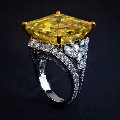 12mm Asscher Cut Simulated Yellow Diamond Solitaire Engagement 925 Sterling Silver Ring