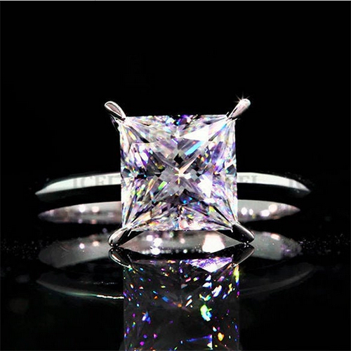 7mm Princess Simulated Diamond Solitaire Engagement 925 Sterling Silver Ring