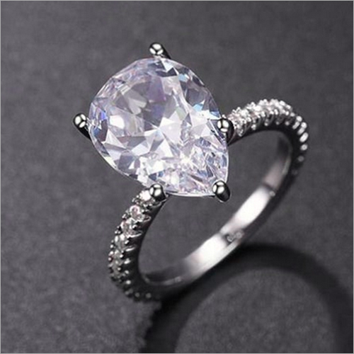 11x8mm Pear Cut Simulated Diamond Hidden Halo Engagement 925 Sterling Silver Ring