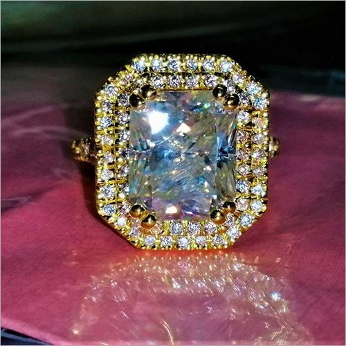 Radiant Cut Simulated Diamond Double Halo Engagement Ring