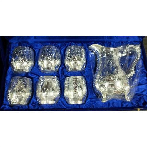 Silver Glass And Jug Set